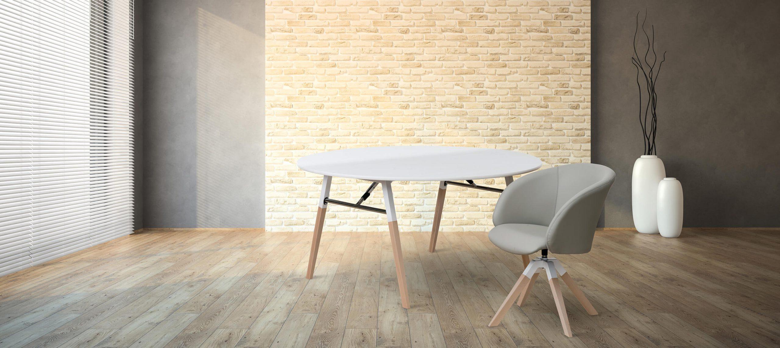 A-fold Cream Brick Wall Empty Room