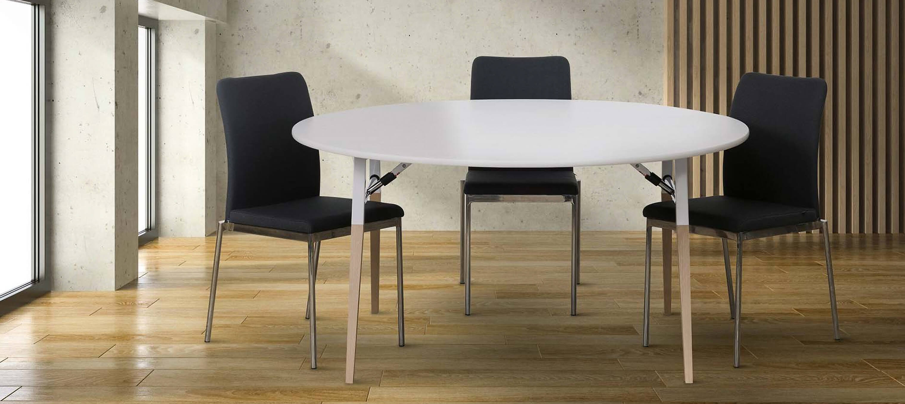 A-fold table and Evosa Office chairs