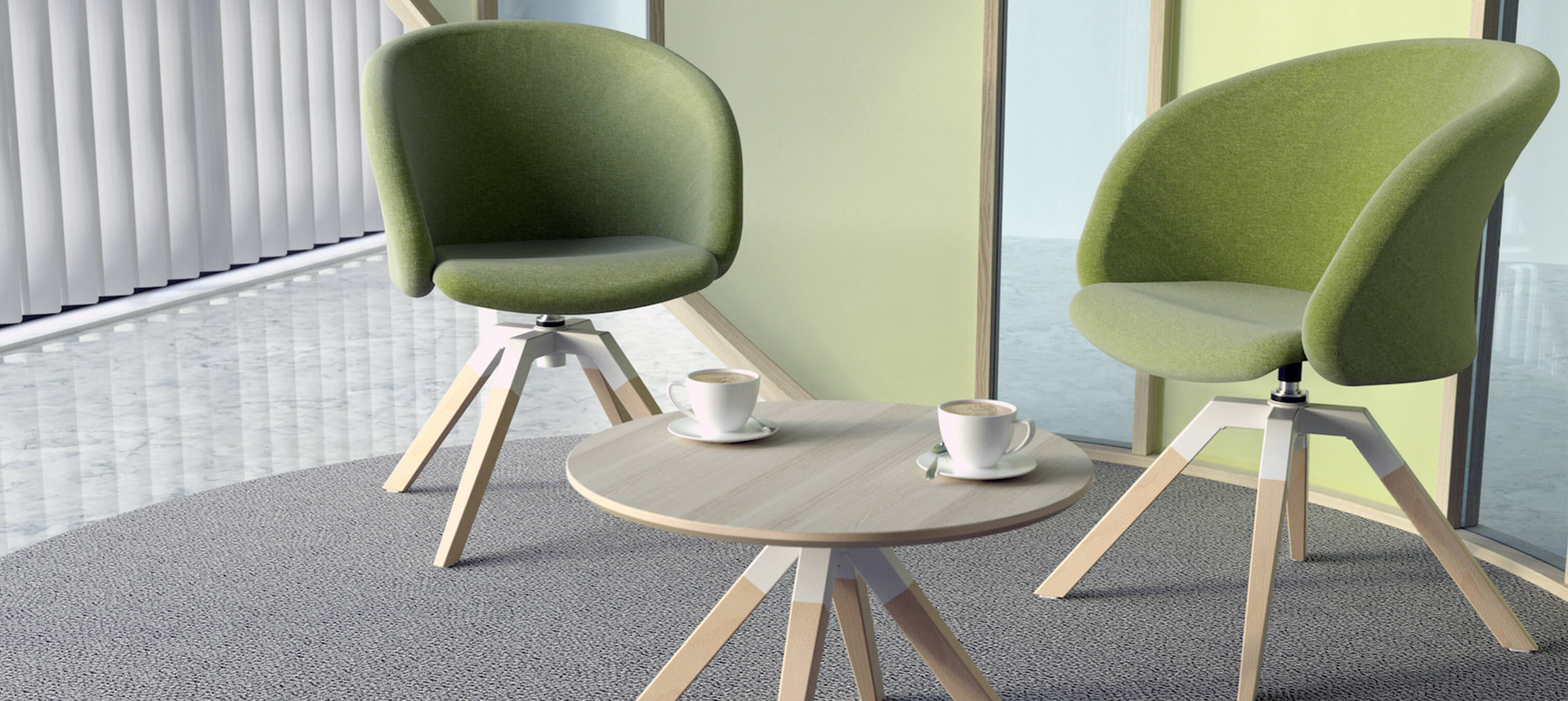 A-Cross Coffee Table & Junea low back base soft seating